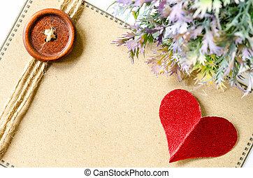 coeur, brun, étiquette, papier, vide, rouges