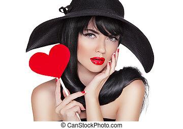 coeur, brunette, bla, charme, tenue femme, portrait, mode, rouges