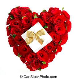 coeur, cadeau, doré, arc, roses, rouges