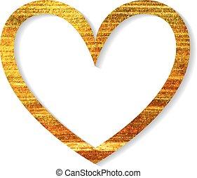 coeur, cadre, blanc, or, arrière-plan.