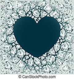 coeur, cadre, fait, diamants