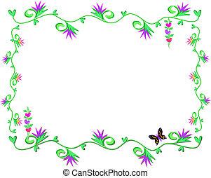 coeur, cadre, feuilles, vignes
