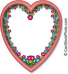 coeur, cadre, fleurs