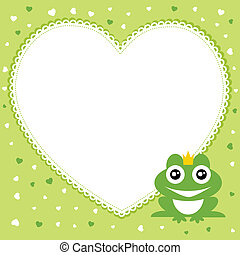 coeur, cadre, forme, prince grenouille