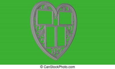 coeur, cadre, forme., tourner, arrière-plan., animation, vert, écran