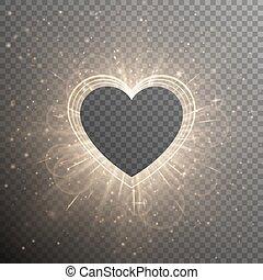 coeur, cadre, or, fond