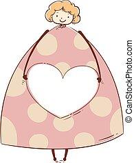 coeur, cadre, part, illustration, conception, girl