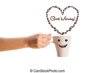 coeur, café, bon, formé, signe, isolé, matin, grande tasse, haricots, blanc