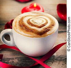 coeur, café, cappuccino, valentine, mousse, ou, jour