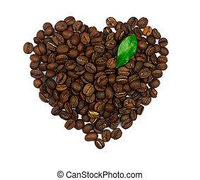 coeur, café, fait, feuille, symbole, isolé, haricots, fond, blanc vert