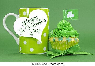 coeur, café, petits gâteaux, cadeau, formé, tasse, polka, rue, trèfle, patricks, vert, drapeaux, tag., jour, point, heureux