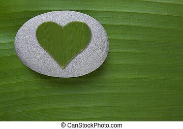 coeur, caillou, vert