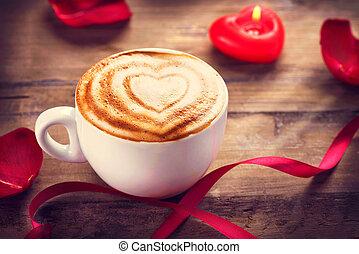 coeur, cappuccino, valentine, mousse, coffe, ou, jour