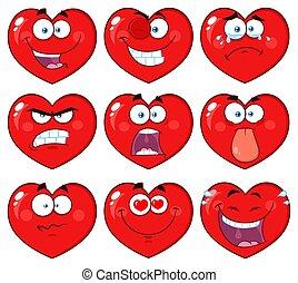 coeur, caractère, collection, figure, emoji, dessin animé, rouges, 1.
