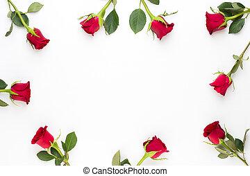 coeur, card., arrière-plan., valentines, salutation, roses, blanc, jour