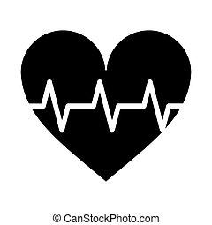coeur, cardio, pouls, rythme, pictogramme