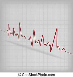 coeur, cardiogramme, battements, fond, blanc rouge