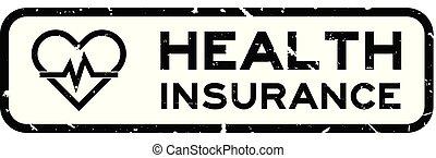 coeur, carrée, grunge, timbre, pouls, caoutchouc, santé, arrière-plan noir, cachet, mot, blanc, assurance, icône