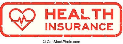 coeur, carrée, mot, timbre, pouls, caoutchouc, santé, fond, cachet, grunge, blanc, assurance, rouges, icône