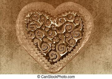 coeur, carte, vendange, sépia, valentin, fond