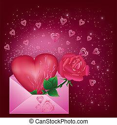 coeur, carte voeux, rose