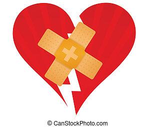 coeur cassé, aide, bande