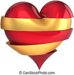 coeur cassé, amour, forme, tranches