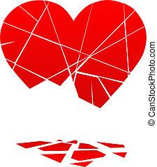 coeur cassé, chutes, morceaux, valentin