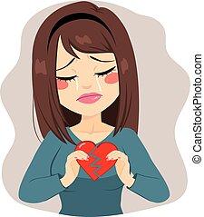 coeur cassé, femme