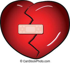 coeur cassé, vecteur, aide, bande
