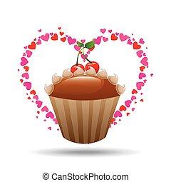 coeur, cerise, petit gâteau, conception, délicieux, crème, dessin animé, icône