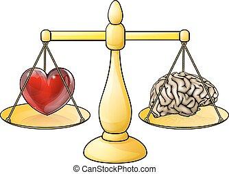 coeur, cerveau, concept, balances