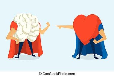 coeur, cerveau, heros, entre, bataille, super