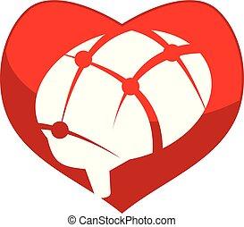 coeur, cerveau, vecteur, conception, gabarit, logo