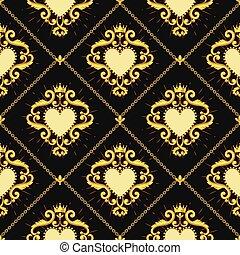 coeur, chaîne, doré, brun, pattern., seamless, illustration,...
