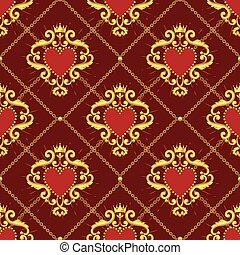 coeur, chaîne, doré, pattern., seamless, illustration,...