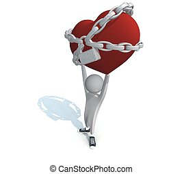 coeur, chaînes, rouges, tenue, homme