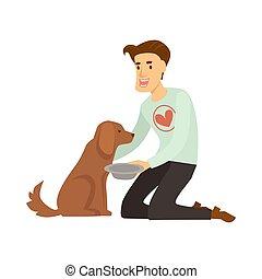 coeur, chandail, chien, sdf, nourrit, volontaire