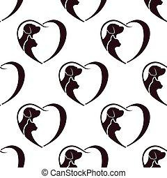 coeur, chat, pattern., seamless, chien