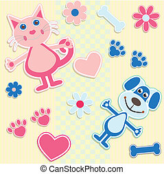 coeur, chats, seamless, fond, chiens