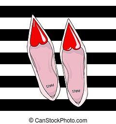 coeur, chaussures, top., nez, étroit, rouges