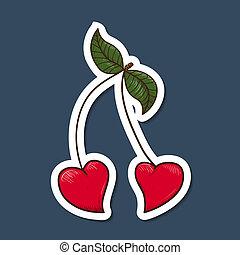coeur, cherries., formé
