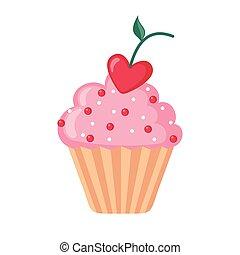 coeur, cherry., formé, valentin, petit gâteau, icône