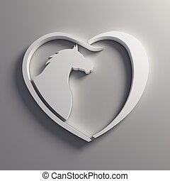 coeur, cheval, love., logo