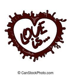 coeur, chocolat, éclaboussure, amour, réaliste