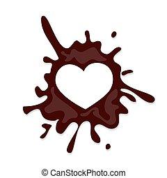 coeur, chocolat, éclaboussure, réaliste