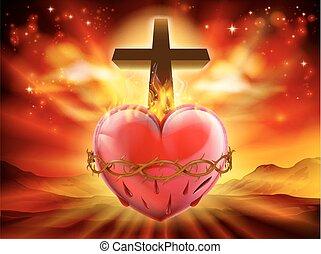 coeur, chrétien, sacré, illustration
