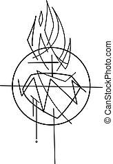 coeur, christ, illustration, jésus, vecteur, sacré
