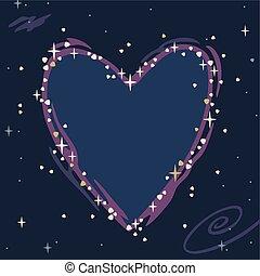 coeur, ciel étoilé, illustration, vecteur, constellation