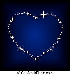 coeur, ciel, étoiles, nuit